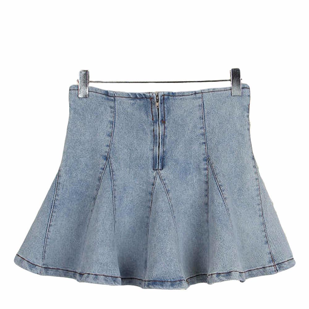 0f650708289 Get Quotations · New Summer Style Women Jean Skirts Zipper Fly Elastic Blue  Denim Skater Skirt For Girl Plus