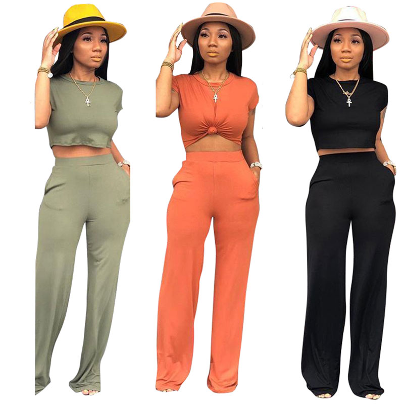 90703-MX27 crop top jumpsuit casual two piece set women clothing