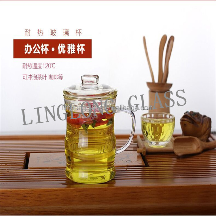 Wholesale Single Wall Hand Blown Glass Tea Glass Cup With Glass Infuser And Lid