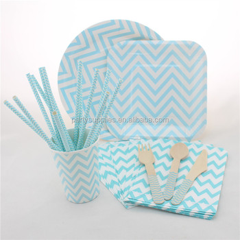 Whole Chevron Paper Plates Napkins Cups Straws Wooden Cutelery Disposable Wedding Party Tableware