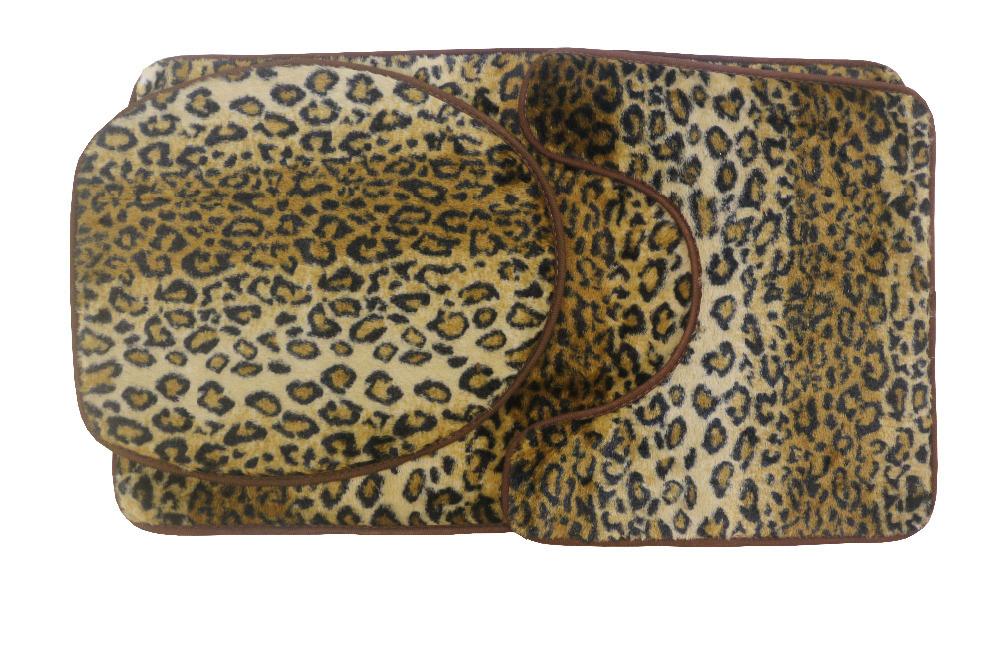 Leopard Print Toilet Cover Set 3 Pc Bathroom Mat Rug Lid ...