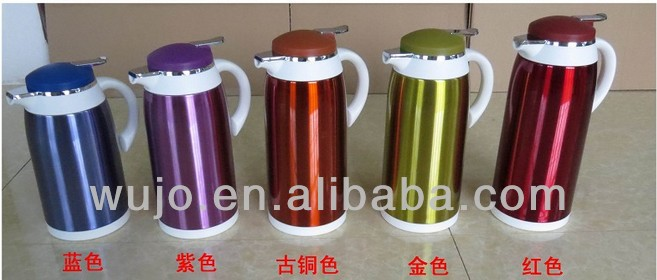 colorful stainless steel Vacuum Flask /Coffee pot , 1.0L/1.3L /1.6L/1.9L , glass liner/glass refill