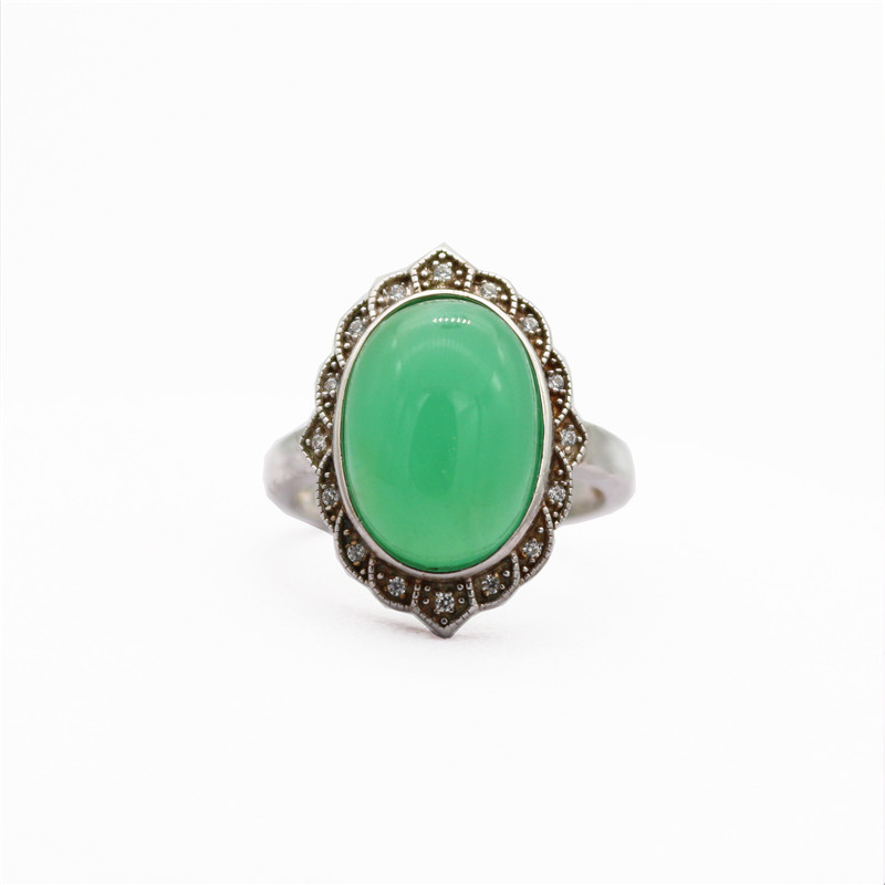TopAAAAA S925 sterling silver ring natural green chalcedony Nepal hand inlaid multicolored rings