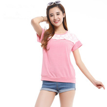 lace Applique T shirt Pregnant Tee Breastfeeding Ourdoor baby nursing T shirt Layered opening Women Manternity