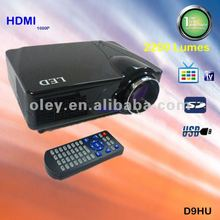 low cost home theater video projector 1080p with hdmi and tv tuner, usb/sd support rmvb format video