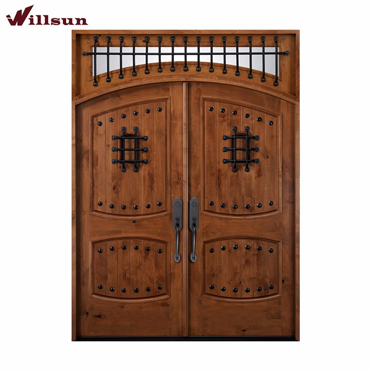 Iron grill window wood wrought iron wooden exterior front for Wooden double door designs for main door