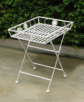 Vintage Shabby White Metal Tray On Stand Side Table Chic Plant