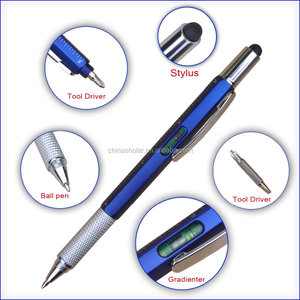 5 in 1 multifunction pen with stylus,gradienter,ruler,tool driver