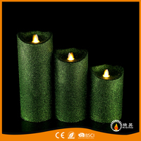 Led moving flame candles with shinning powder green candles party decorative candles