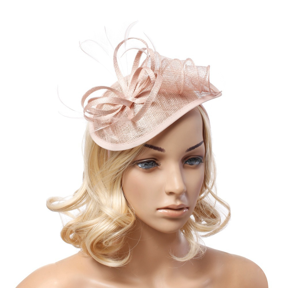 Get Quotations · New Lady black flower feather fascinator sinamay hats  women hair accessories elegant fascinators for wedding party 01254187ca6