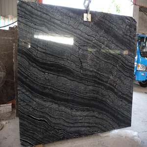 Decorative stone silver wave black wood marble slab