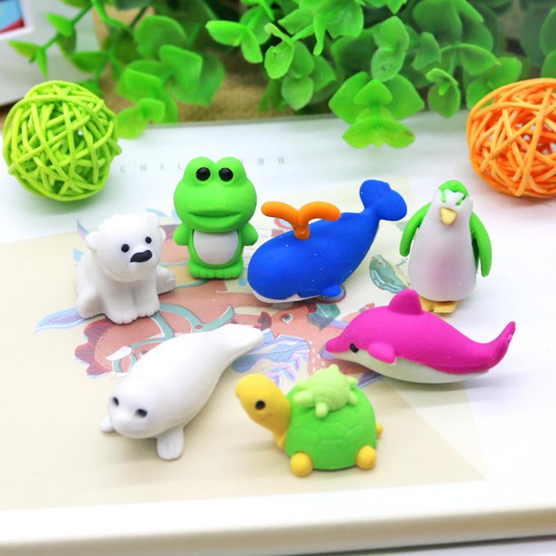 Fashion custom hot sale creative cheapest fancy mini cute animal 3D animal shaped rubber eraser
