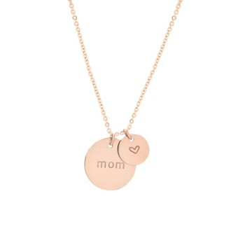 Stainless Steel Gold Plated Jewelry Lady Sister Gift Small Round Disk Tags Tiny Initial Pendant Necklace Buy Mother Necklace Mom Necklace Engraved