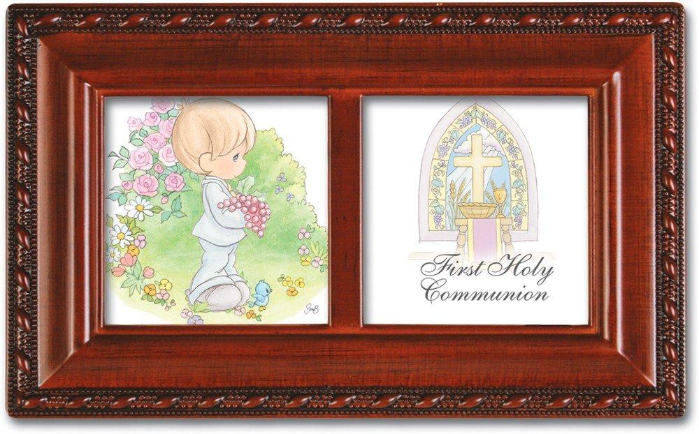 Precious Moments 1st Communion Boy Woodgrain Music Box Plays Jesus Loves Me
