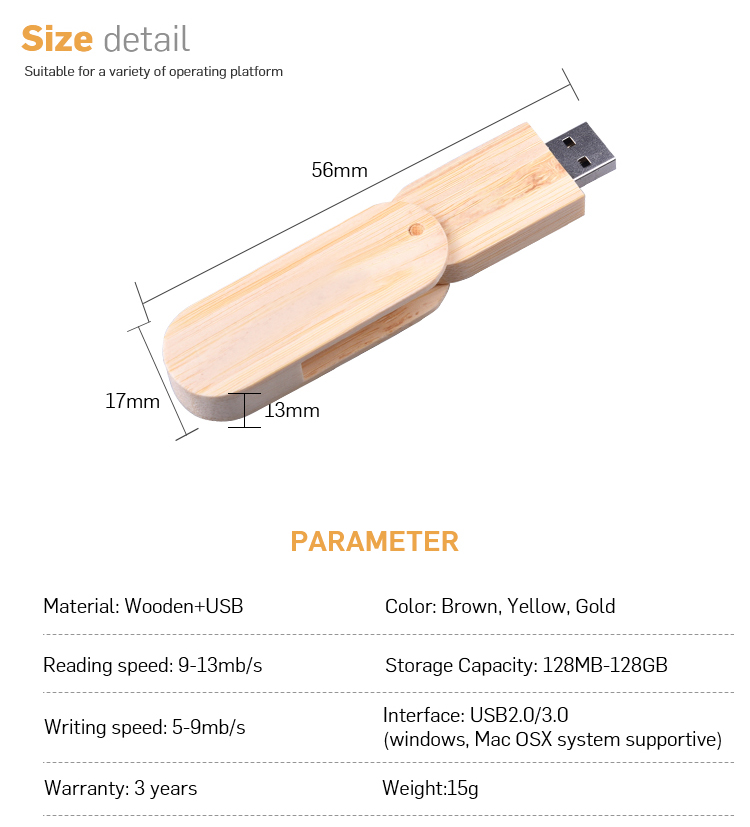 Promotional Laser engraving wood custom usb 3.0 flash drive with box