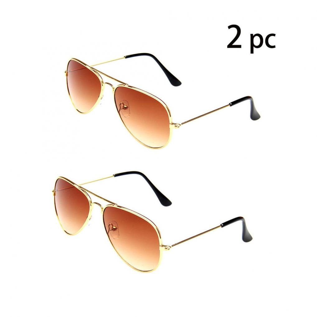 e4b9ef10580 WODISON Classic Kids Aviator Sunglasses Bulk Reflective Metal Frame  Children Eyeglass 2 Pack