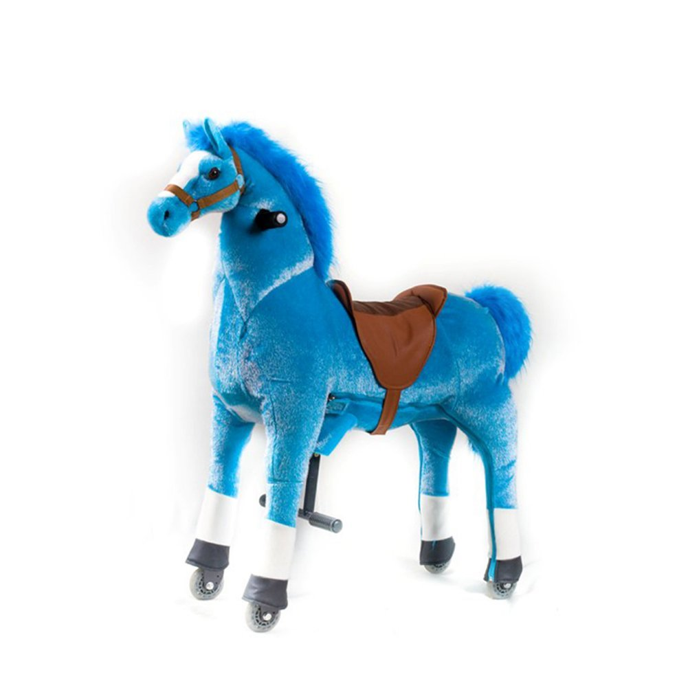 Mofawangzi Saddle-less Rocking Ride on Pony Toys Walking Horse Cycle Toy with Wheels and Foot Rest without Battery or Electricity Mechanical, Blue&White Medium for 3-8 Age