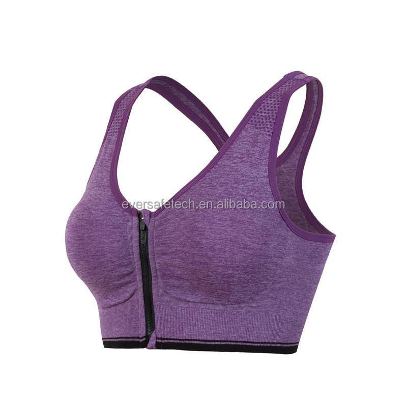 802319b5212 7 Colors Women Zipper Push Up Sports Bras