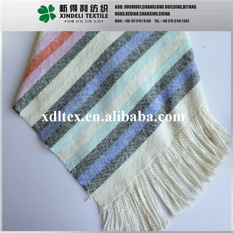 XL25995 Factory supply stripe design scarf finished with tessel 100 cotton yarn dyed woven fabric