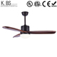 Amazon Hot Sale modern decorative remote control no noice 52'' 3 blades solid wood ceiling fan with light