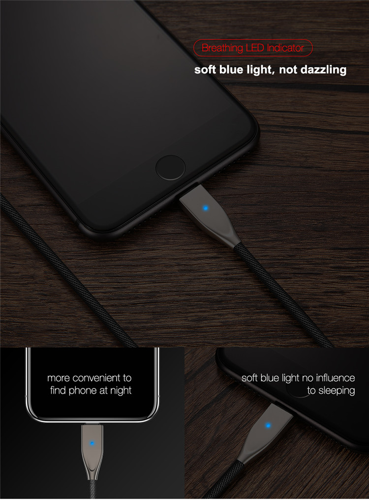 Free Shipping 1.2m Auto Disconnect USB Cable for iPhone FLOVEME 5V/2.1A Fast Charging LED Data Sync Mobile Phone Cable