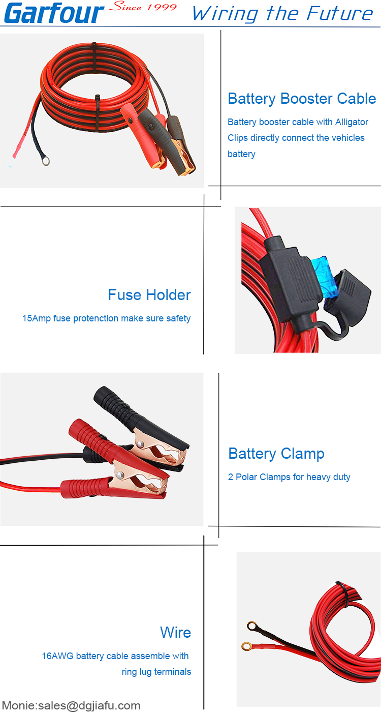 18 AWG battery cable jumper booster cable with alligator clamp fuse holder cable harness