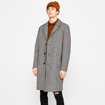 Winter men's plaid long woolen coat
