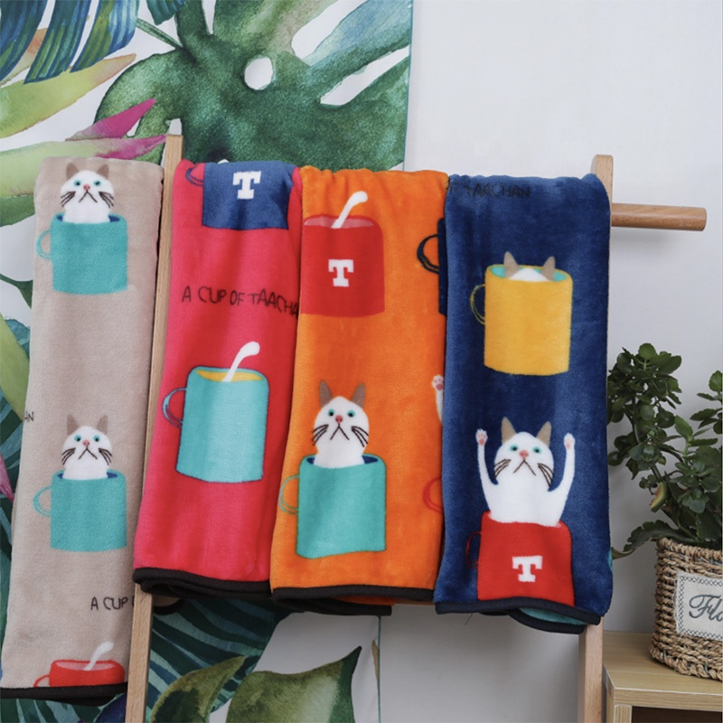 Soft Fleece Japan Print Cartoon Cat Design Baby 잠 담요