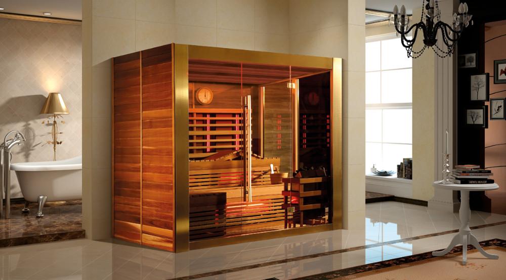 4 People Hemlock Wood Dry Sauna Rooms High Quality Far