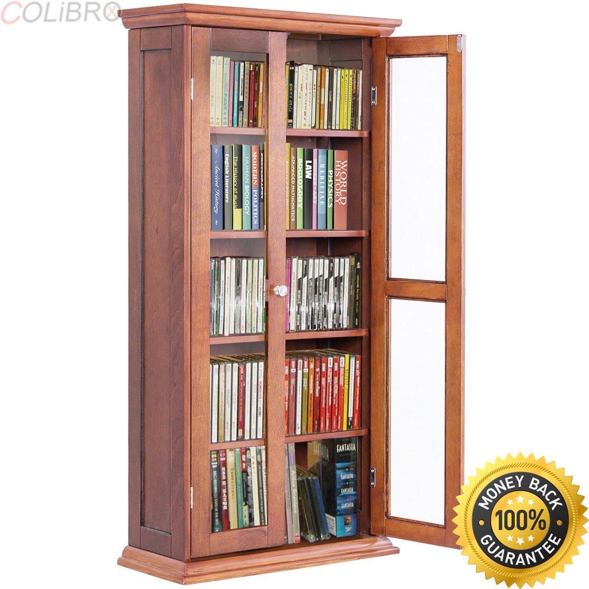 Get Quotations Colibrox 44 5 Wood Media Storage Cabinet Cd Dvd Shelves Tower Gl Doors Walnut