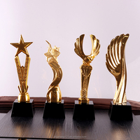 Golden resin Souvenir Use champion Award With Black Crystal Base