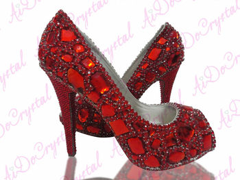 Red Crystal Rhinestone Bottom Shoes Wedding Rose