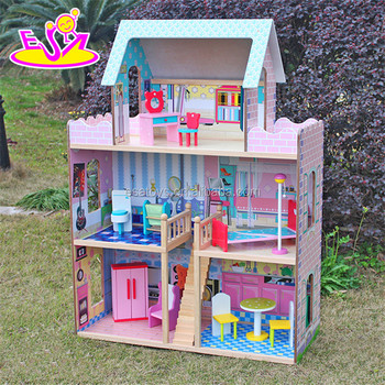 2017 New products lovely children wooden large dolls house W06A037