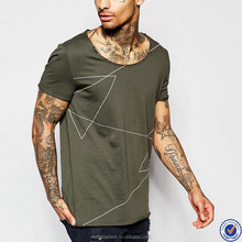 mens t shirts manufacturers china scoop neck longline graphic t shirt