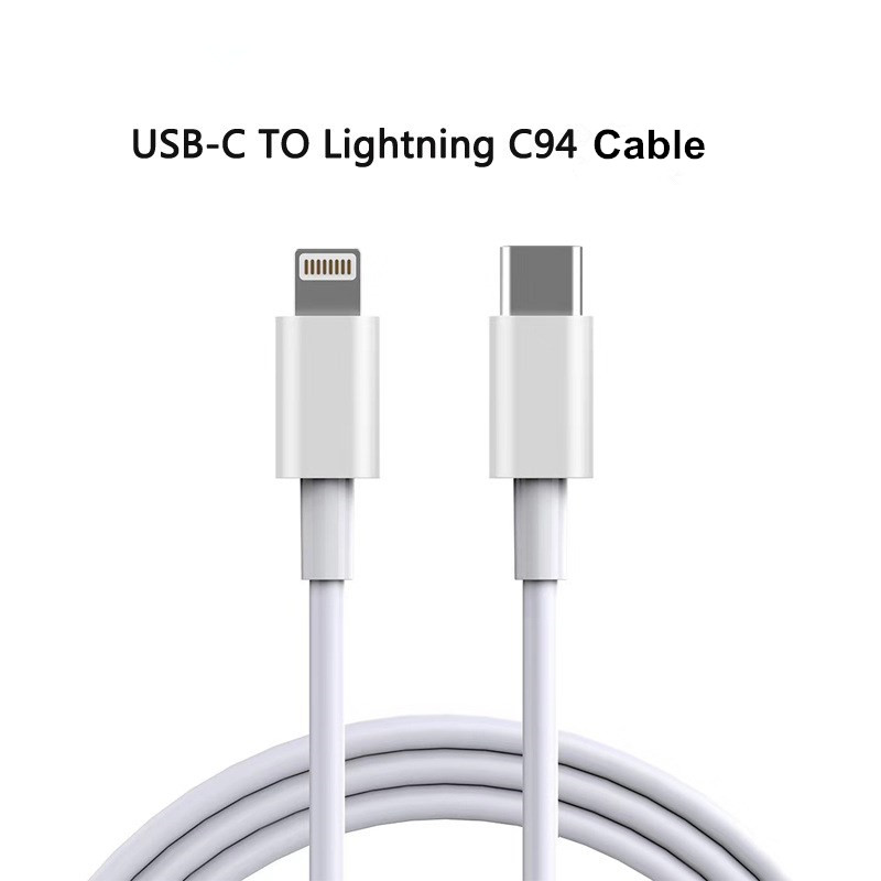 MFi certified C94 8pin to USB-C cable supports PD 18W fast charging cable for iPhone X/XS/XR/XS Max / 8/8 Plus