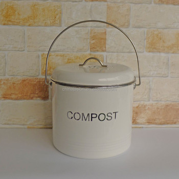 white kitchen compost waste recycling caddy bin metal compost food bin