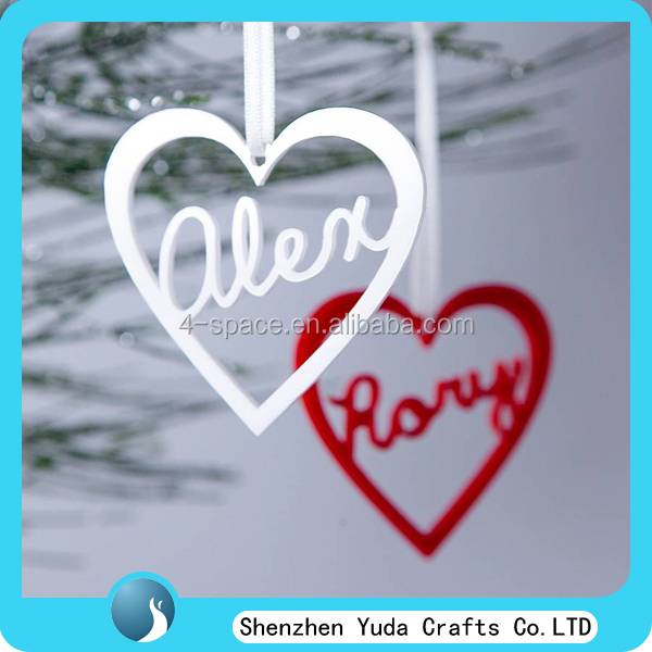 Personalised heart shape custom Acrylic Hanging Ornament decorations with your name