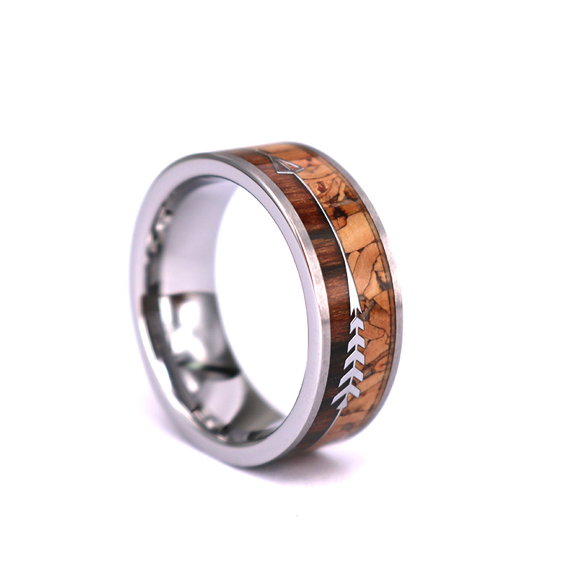 New style Arrow and Cork Koa Wood Tungsten Ring,Outdoor Hunter Rings