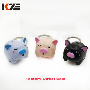 Funny flying pig led light keychain with animal sound