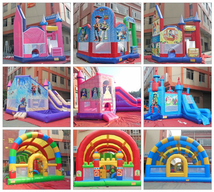 Inflatable cartoon princess theme family warm bouncer castle with inter slide
