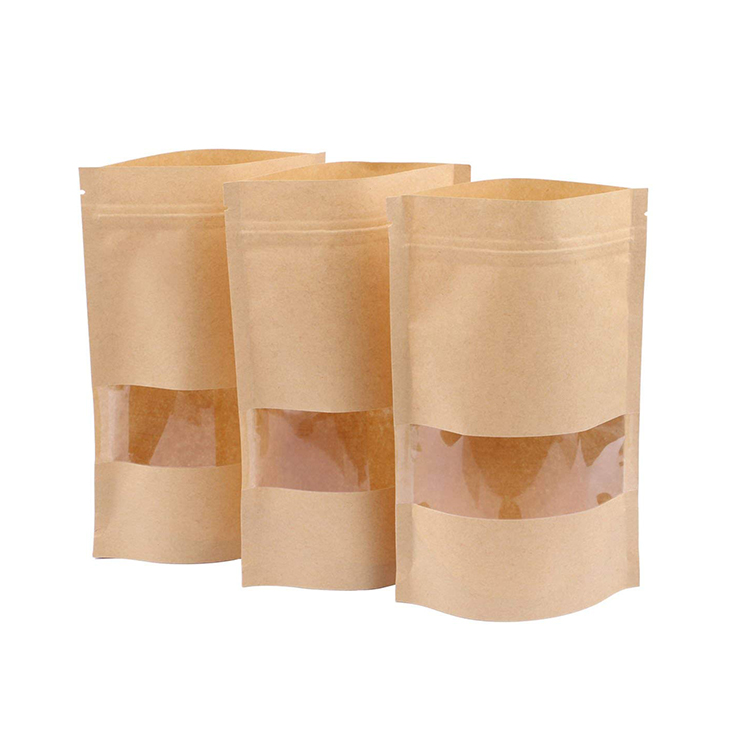 Made in China Reusable coffee bags Stand up Zip Lock Kraft Paper Bags with Window