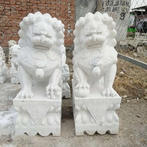 Beautiful Lion with China Pure White Marble