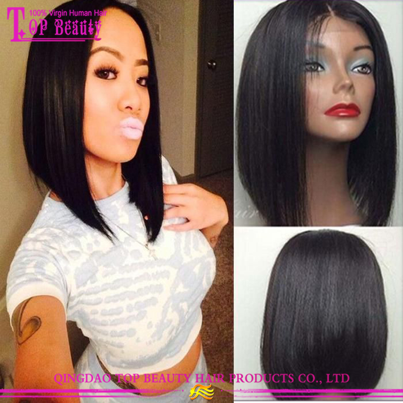 New style wholesale cheap price remy indian human hair short bob full lace  wig with bangs for black women 7d6ef07ec8