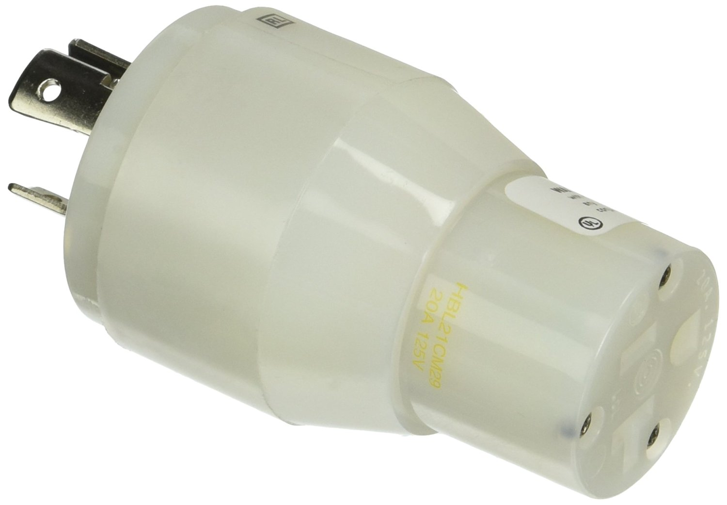 4W Twist-Lock Male end 125//250V 2P 3P 3W Twist-Lock Female end with 50A Hubbell Wiring Systems HBL61CM71 Molded Straight Adapter 125V 30A Yellow