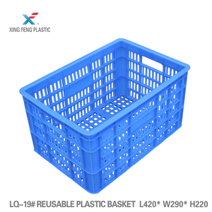Rectangle mesh surface plastic crate for potatoes and tomatoes