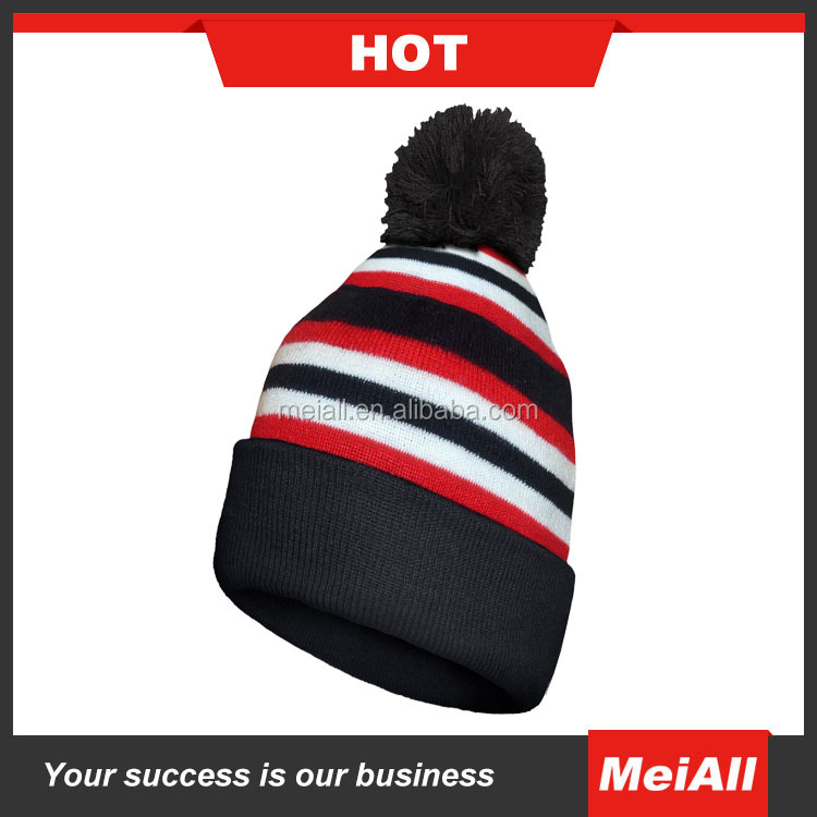NEW Custom Jacquard Knit Pom Beanie With Embroidery Beanie Striped Black And White Factory Beanie hat cap