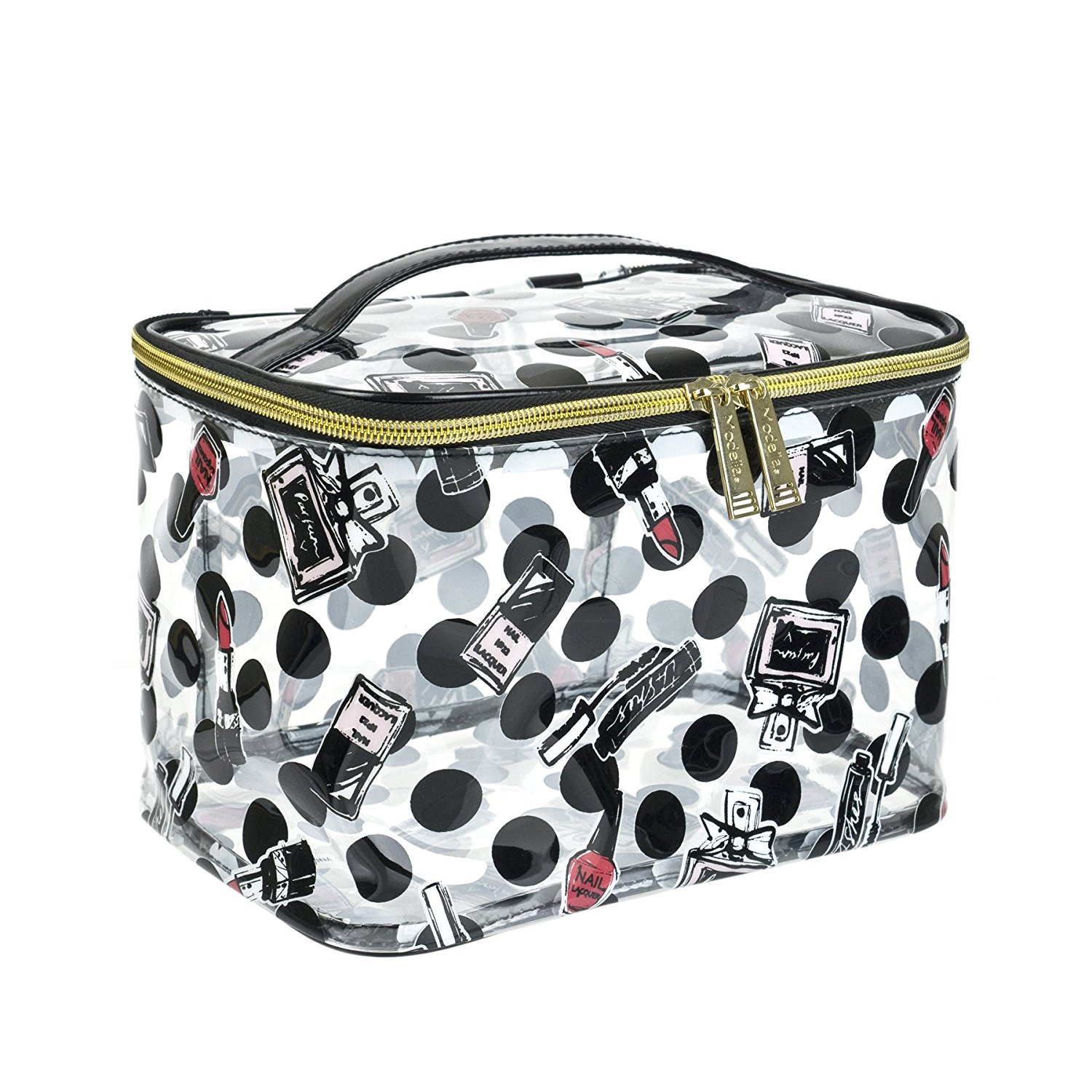 6c1d68a44c Get Quotations · Modella Clearly Make Up Collection Train Case Cosmetic Bag
