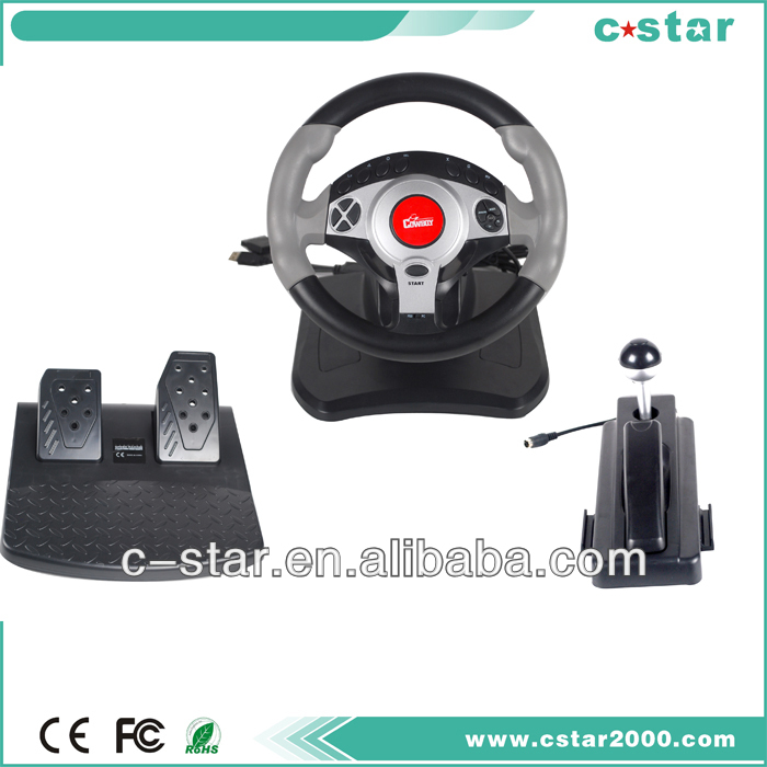 3 in1 vibration video game steering wheel for PS2/PC USB