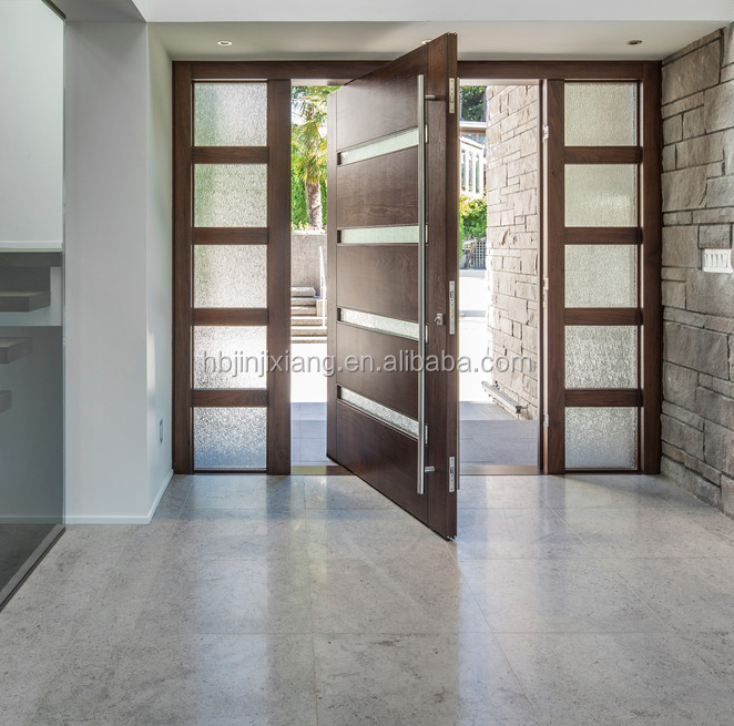 Villa Main Entrance Door Modern Design Pivot Wood Doors with Sidelights