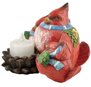 christmas cardinal candle holder custom red bird figurine